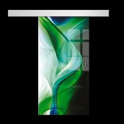 Drzwi Szklane Przesuwne 1050X2095 8MM ESG/VSG GRAFIKA 2STR GR-H08 + SYSTEM PRZESUWNY