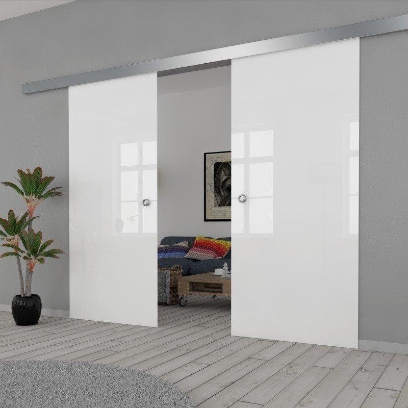 Drzwi Szklane Przesuwne 130(2X65) VSG BIAŁE FLOAT SILVER