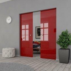 Drzwi Szklane Przesuwne 190(2X95) VSG CZERWONE KASETA