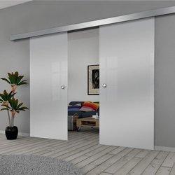 Drzwi Szklane Przesuwne 190(2X95) VSG SATYNA SILVER