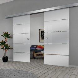 Drzwi Szklane Przesuwne 200(2X100) GEO11 SILVER