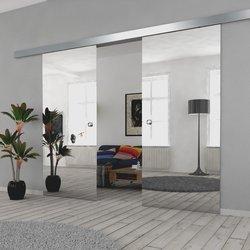 Drzwi Szklane Przesuwne 200(2X100) VSG LUSTRO/LUSTRO SILVER