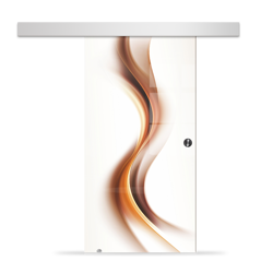 Drzwi Szklane Przesuwne 650X2095 8MM ESG/VSG GRAFIKA 2STR GR-H012 + SYSTEM PRZESUWNY