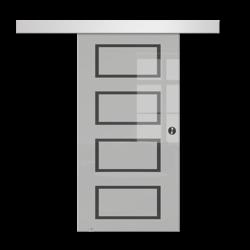 Drzwi Szklane Przesuwne 75 GEO12 SILVER
