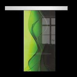 Drzwi Szklane Przesuwne 950X2095 8MM ESG/VSG GRAFIKA 2STR GR-H016 + SYSTEM PRZESUWNY