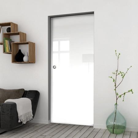 Drzwi Szklane Przesuwne 1050X2095 8MM FLOAT ESG/VSG BIAŁE + KASETA