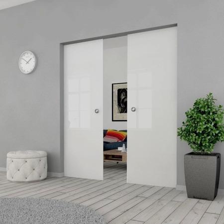 Drzwi Szklane Przesuwne 170(2X85) GEO SATYNA KASETA