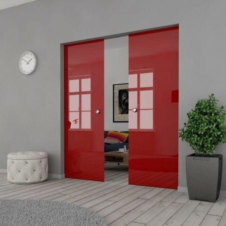 Drzwi Szklane Przesuwne 170(2X85) VSG CZERWONE KASETA