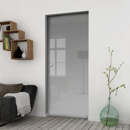 Drzwi Szklane Przesuwne 750X2095 8MM ESG/VSG SATYNA + KASETA