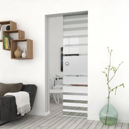 Drzwi Szklane Przesuwne  850X2095 8MM ESG GEO3 + KASETA
