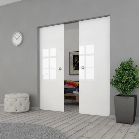 Drzwi Szklane Przesuwne PODWÓJNE 1300X2095 8MM FLOAT ESG/VSG BIAŁE + KASETA