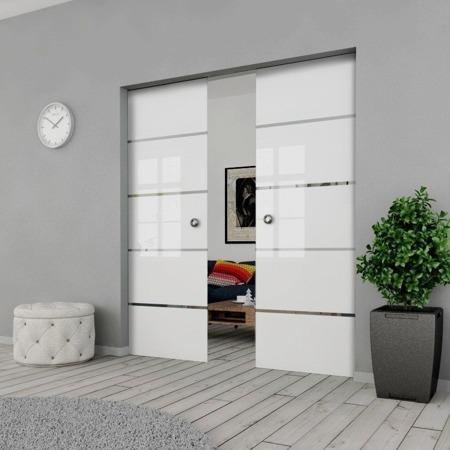 Drzwi Szklane Przesuwne PODWÓJNE 1700X2095 8MM ESG GEO11 + KASETA