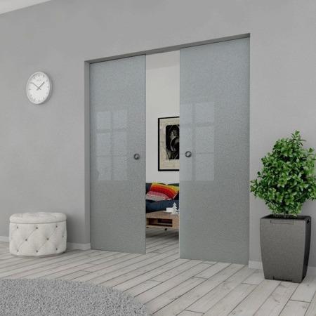 Drzwi Szklane Przesuwne PODWÓJNE 1700X2095 8MM ESG MILENIUM + KASETA