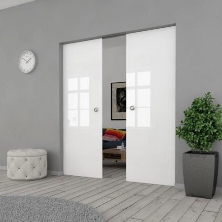 Drzwi Szklane Przesuwne PODWÓJNE 1700X2095 8MM FLOAT ESG/VSG BIAŁE + KASETA